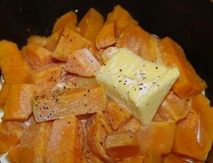Søte poteter klar til mosing Foto: Karl Inge S